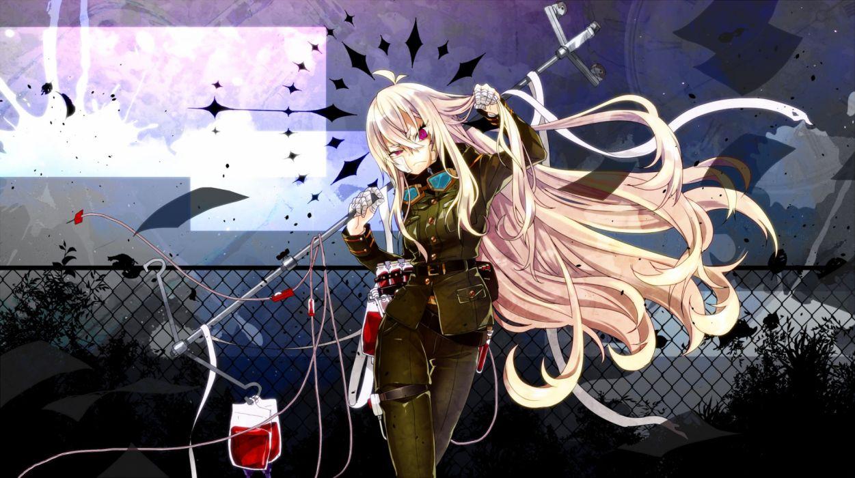 Konachan com - 255560 bandaid blonde hair blood gekiyaku goggles long hair military purple eyes toudou charo uniform utau wallpaper