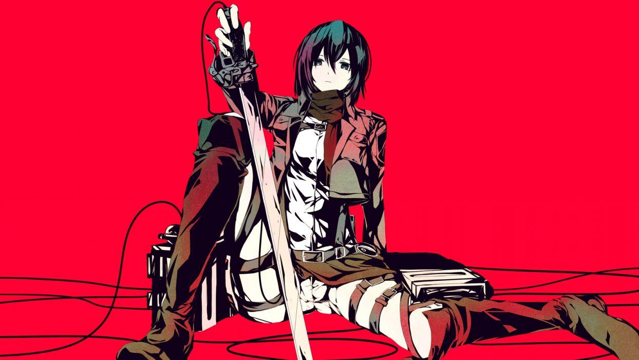 Konachan com - 255320 black hair meola mikasa ackerman red scarf shingeki no kyojin short hair sword uniform weapon wallpaper