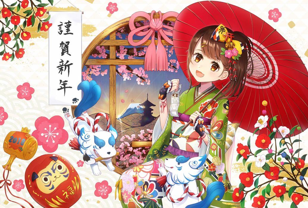 Konachan com - 255296 animal bow brown eyes brown hair cherry blossoms flowers japanese clothes omelet tomato original short hair umbrella wallpaper