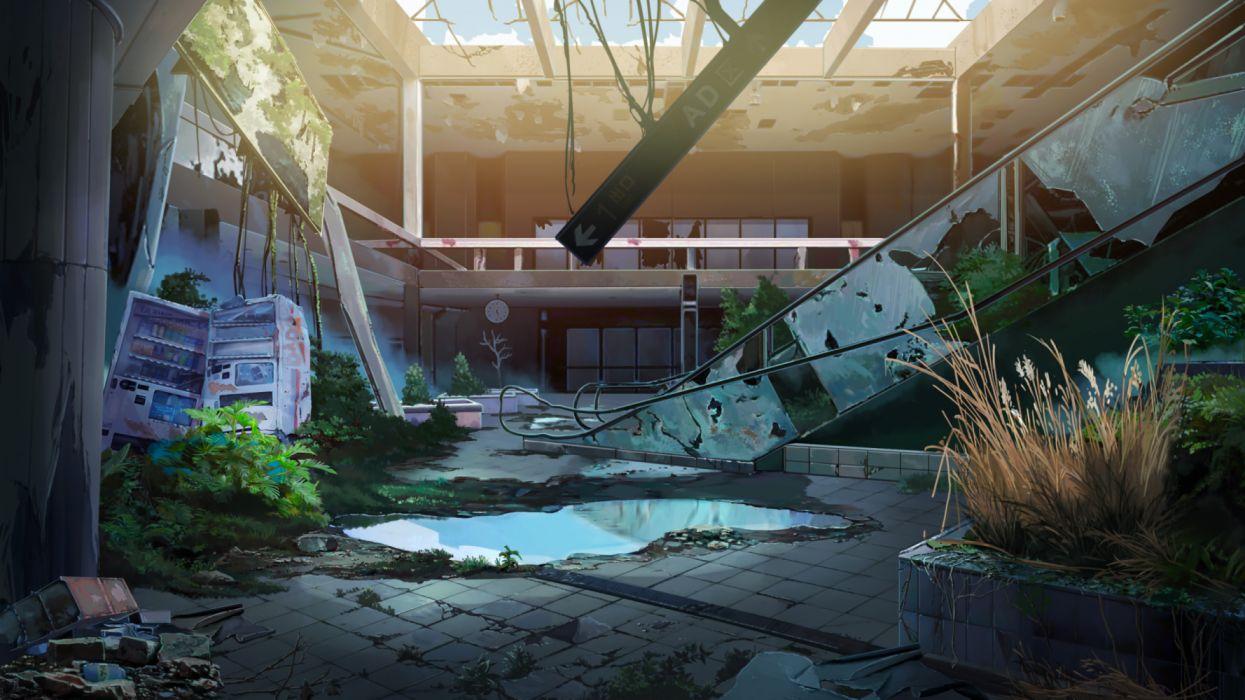 Konachan com - 254486 building grass nobody original ruins scenic shade water xi chen chen wallpaper