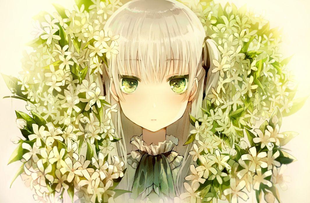 Konachan com - 254238 flowers green eyes long hair original ribbons tlla twintails white hair wallpaper