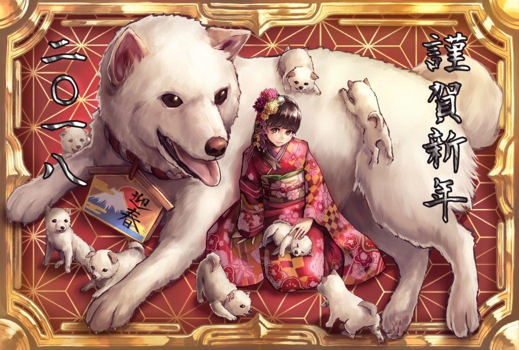 Konachan com - 254194 animal brown eyes brown hair dog flowers headdress japanese clothes kimono original tagme (artist) wallpaper
