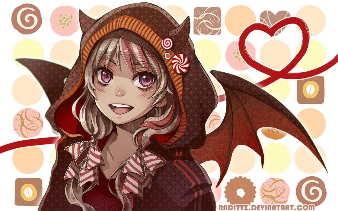 Konachan com - 254182 blonde hair bow hoodie horns original purple eyes tagme (artist) twintails watermark wings wallpaper