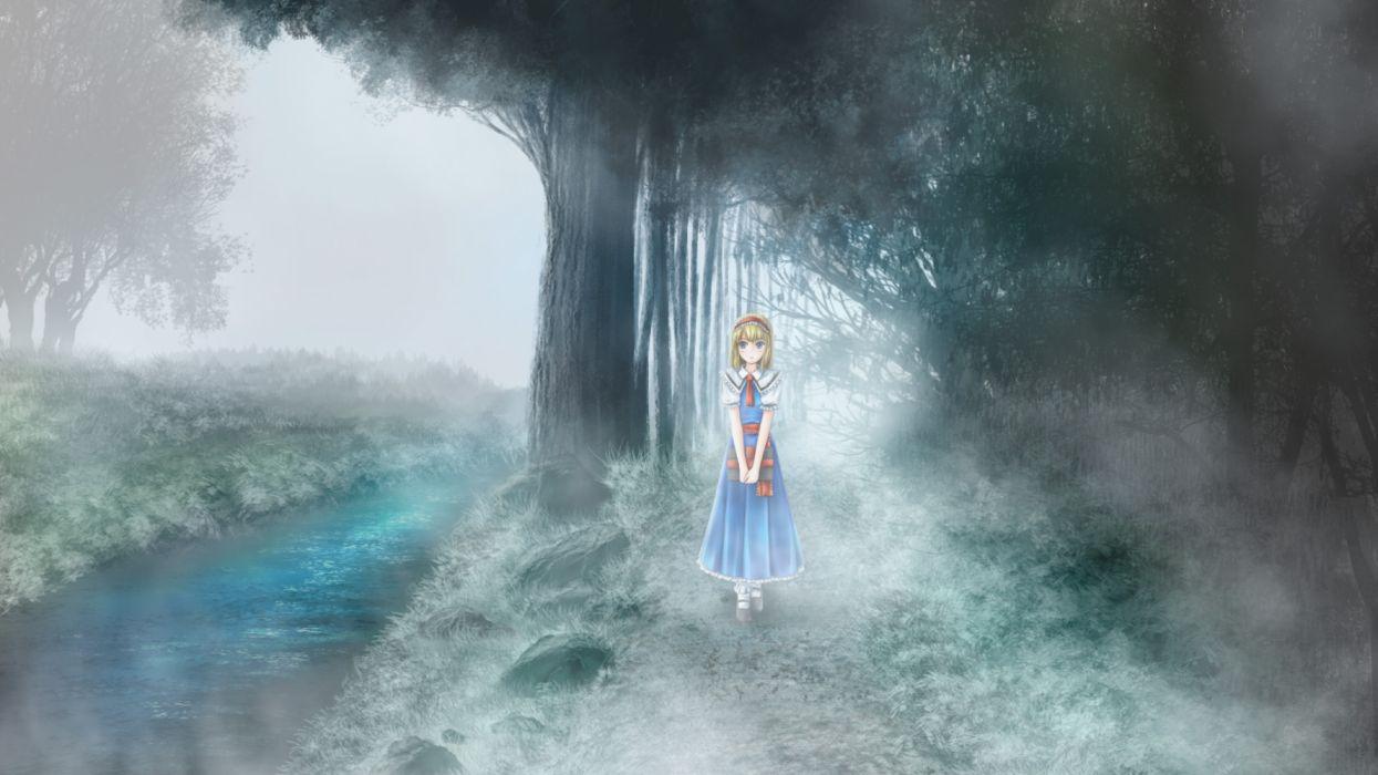 Konachan com - 254067 alice margatroid blonde hair blue eyes book dress forest landscape scenic short hair tagme (artist) touhou tree water wallpaper