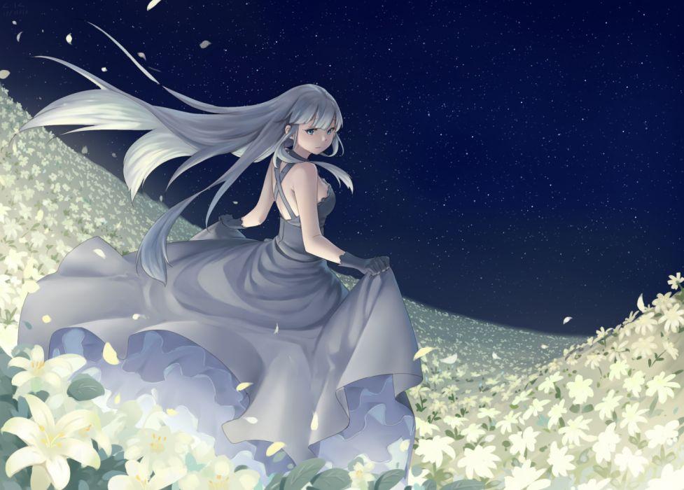 Konachan com - 254029 aliasing dress flowers gloves gray hair long hair night original petals stars tagme (artist) wallpaper