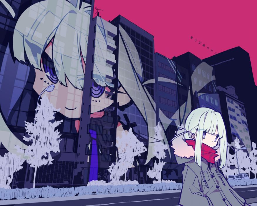 Konachan com - 253760 building city hoodie long hair mochizuki kei original purple eyes scarf tree white hair wallpaper