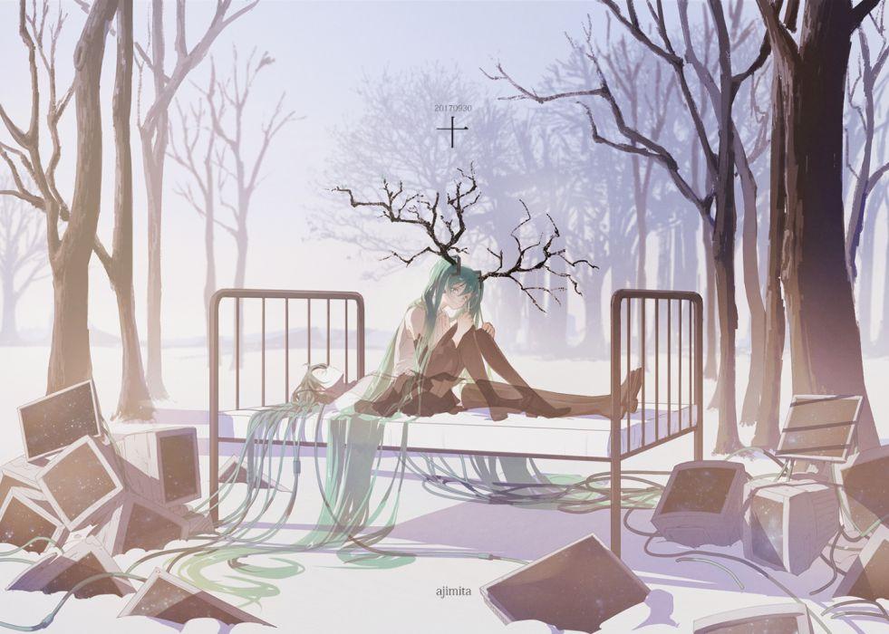 Konachan com - 253725 ajimita blue hair book hatsune miku long hair skirt thighhighs tree twintails vocaloid watermark wallpaper