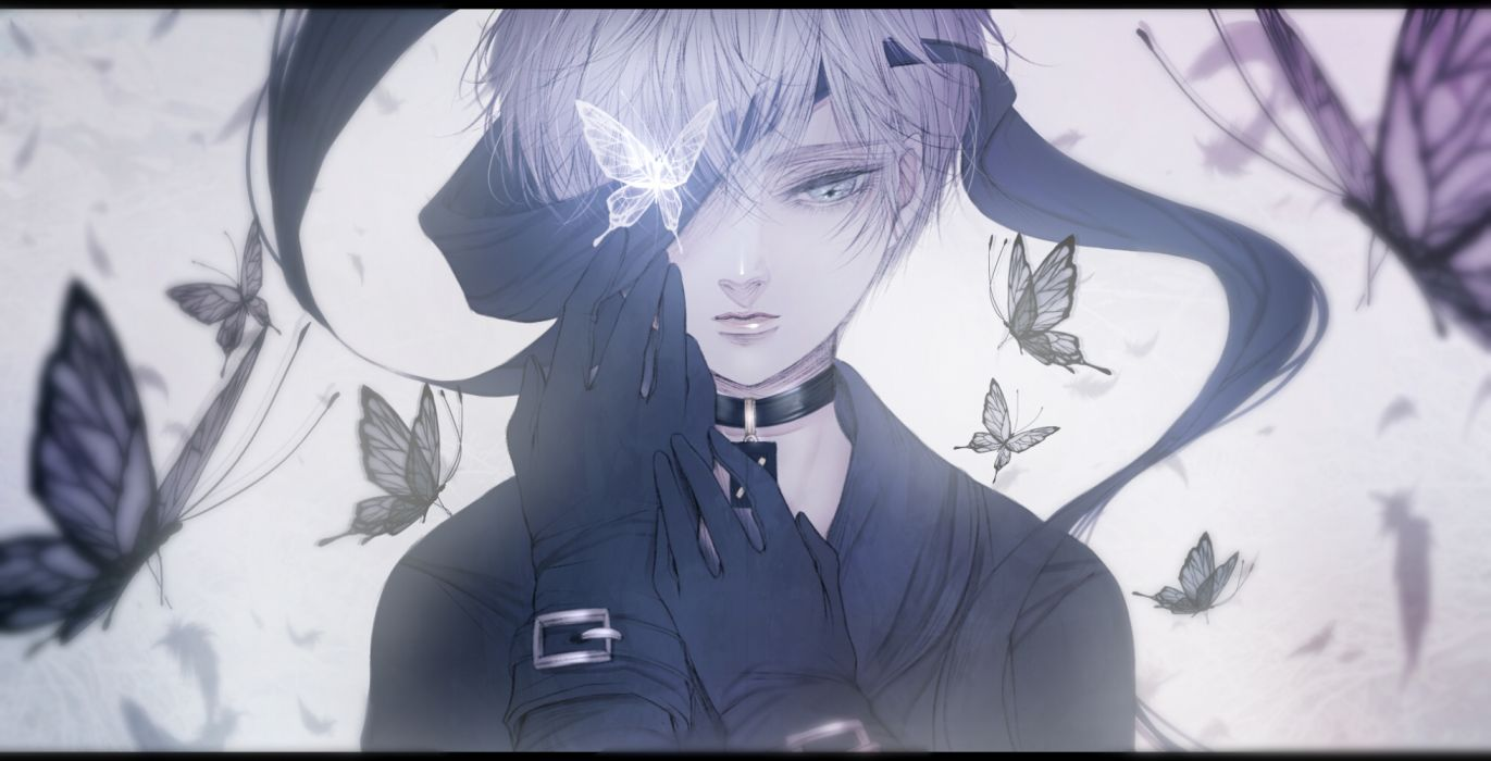 Konachan com - 253636 all male blindfold butterfly choker close gloves gray eyes gray hair male nier nier automata short hair tagme (artist) yorha unit no 9 type s wallpaper