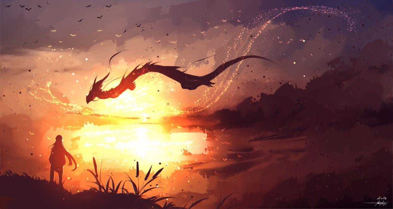 Konachan com - 253044 animal bird dragon landscape long hair original ryky scenic signed sky wallpaper