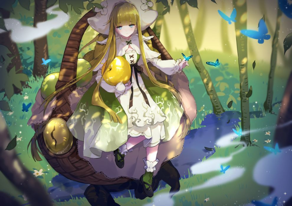 Konachan com - 252417 blonde hair blue eyes butterfly dress flowers food forever 7th capital fruit hat leaves long hair ribbons tagme (artist) tree water wallpaper