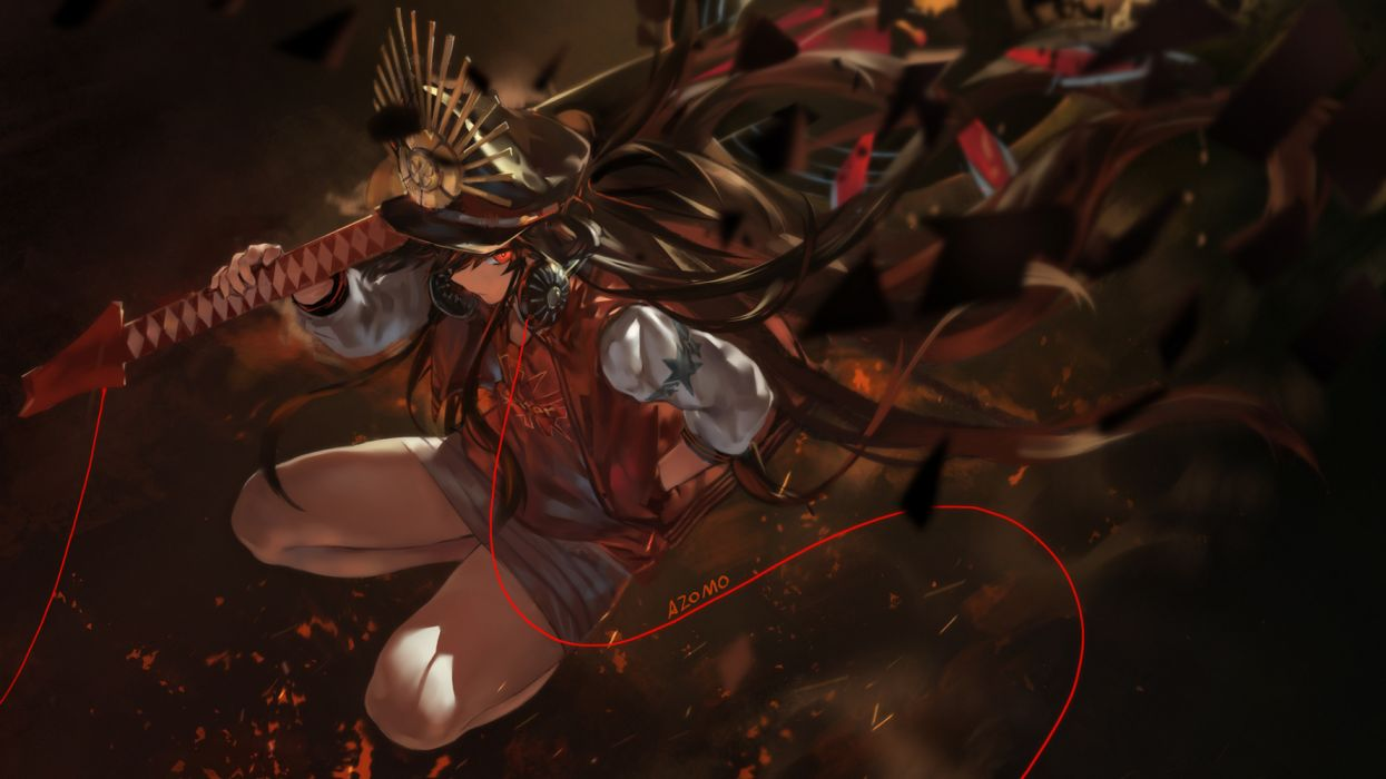 Konachan com - 252322 avamone brown hair fate grand order fate (series) hat headphones long hair nobunaga oda (fate) red eyes signed skirt wallpaper