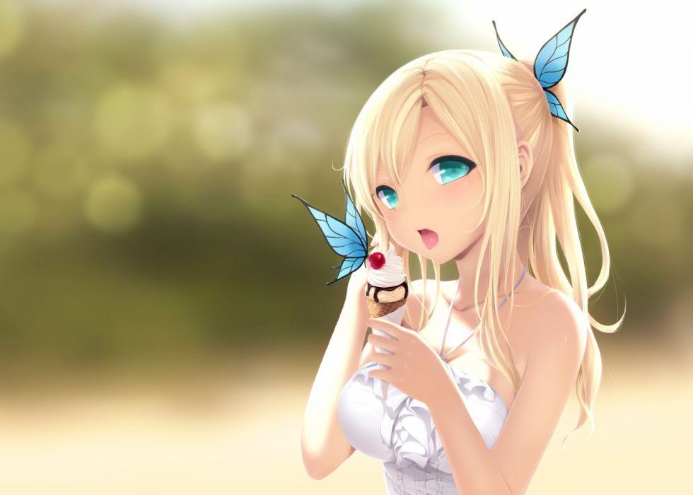 Konachan com - 252250 aqua eyes blonde hair boku wa tomodachi ga sukunai butterfly cait cherry chocolate food fruit ice cream kashiwazaki sena ponytail wallpaper