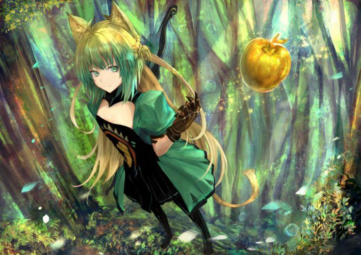 Konachan com - 252223 animal ears apple atalanta (fate) brown hair catgirl fate apocrypha fate (series) food fruit gloves green eyes long hair tagme (artist) tail tree wallpaper