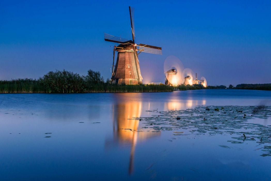 Kinderdijk night windmill channel Netherlands lights wallpaper