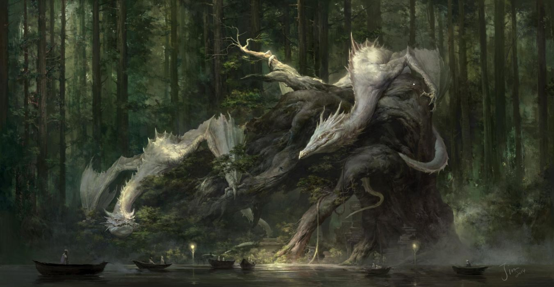 xiaodi-jin original fantasy beauty dragon forest wallpaper