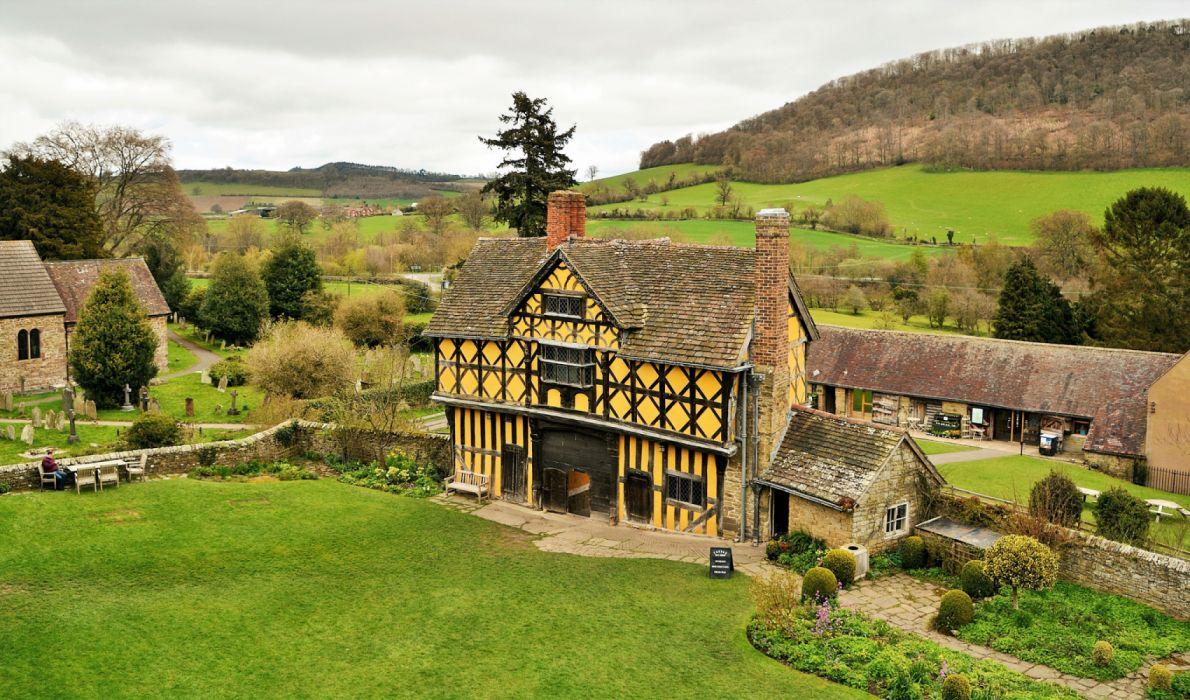 England Castles Houses Stokesay Castl Lawn wallpaper