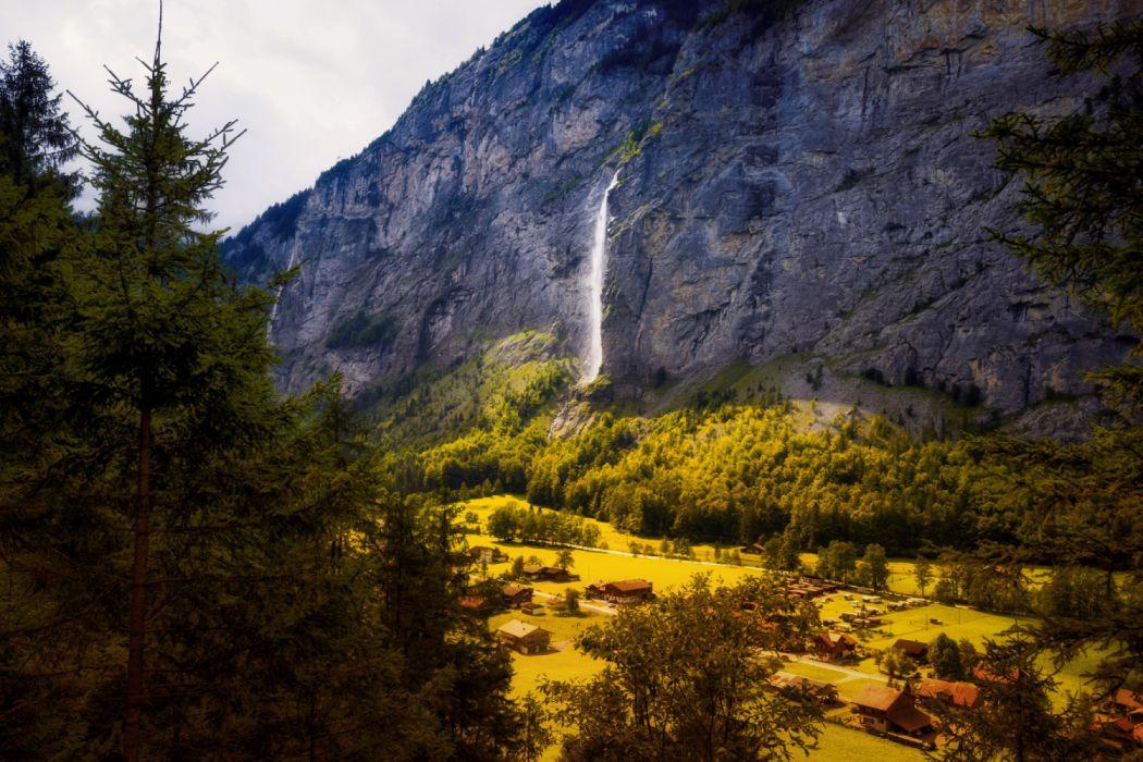 Waterfalls Houses Aegertenbach Falls Lauterbrunnen Skala Nature wallpaper
