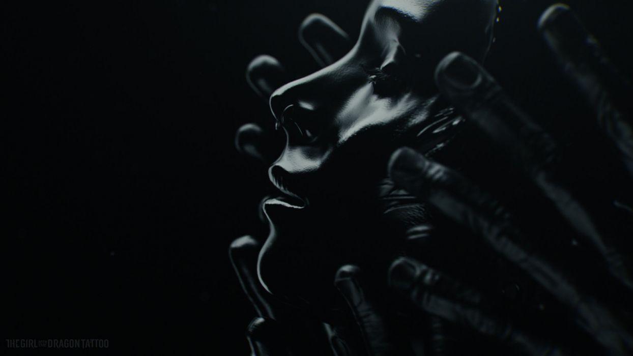 abstracto dark manos rostro mujer wallpaper