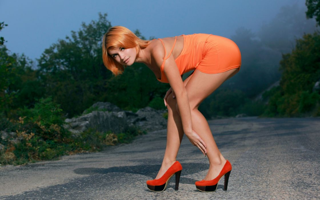 Sensuality sensual sexy girl woman model Dina legs knees high-heels redhead minidress road wallpaper
