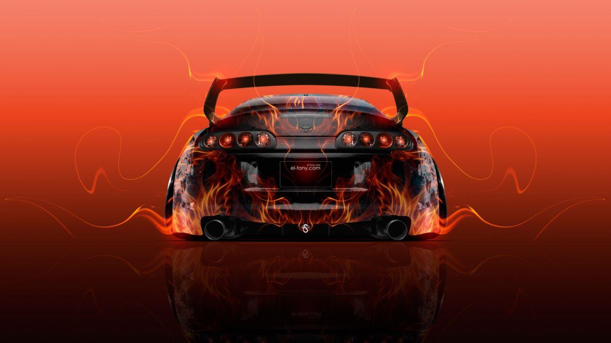 Toyota Supra Jdm Tuning Back Super Fire Car Wallpaper