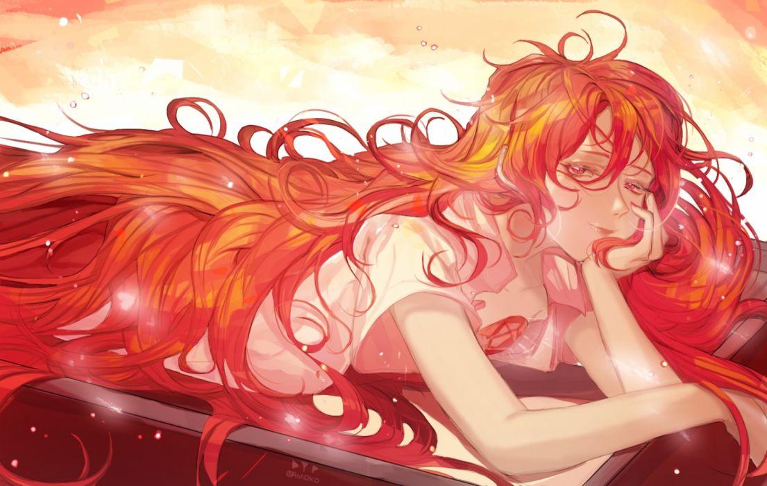 Konachan com - 258228 anthropomorphism canella houseki no kuni long hair padparadscha pink eyes red hair signed wallpaper