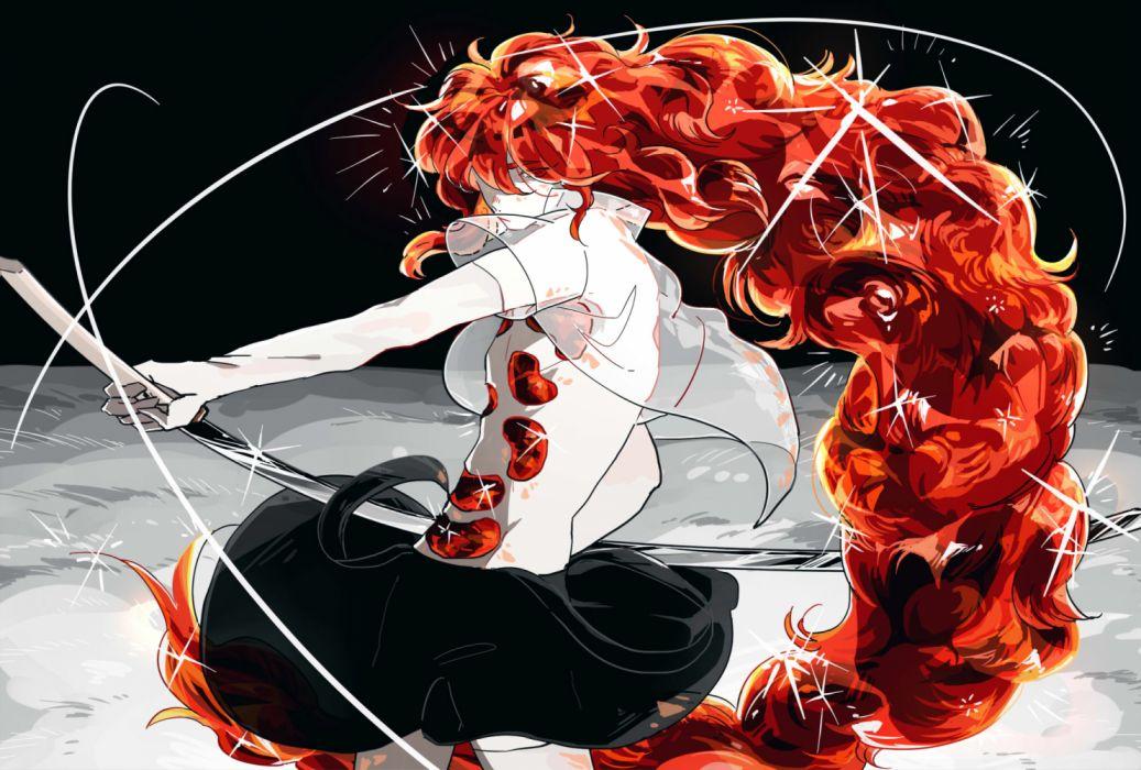 Konachan com - 258227 anthropomorphism houseki no kuni katana long hair padparadscha red hair skirt sword tezo (mokka mk) weapon wallpaper