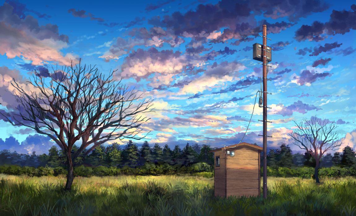 Konachan com - 257402 building clouds forest grass nobody original pippi (pixiv 1922055) scenic sky tree wallpaper