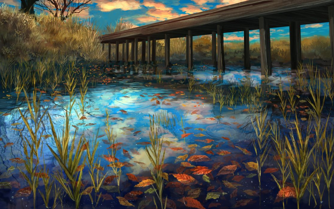 Konachan com - 257399 clouds leaves nobody original pippi (pixiv 1922055) scenic sky tree water wallpaper