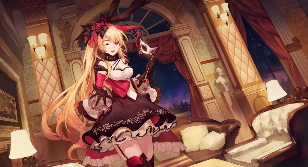 Konachan com - 257292 blonde hair breasts cleavage couch criin (659503) dress forever 7th capital headdress long hair mask night red eyes scenic thighhighs wink wallpaper