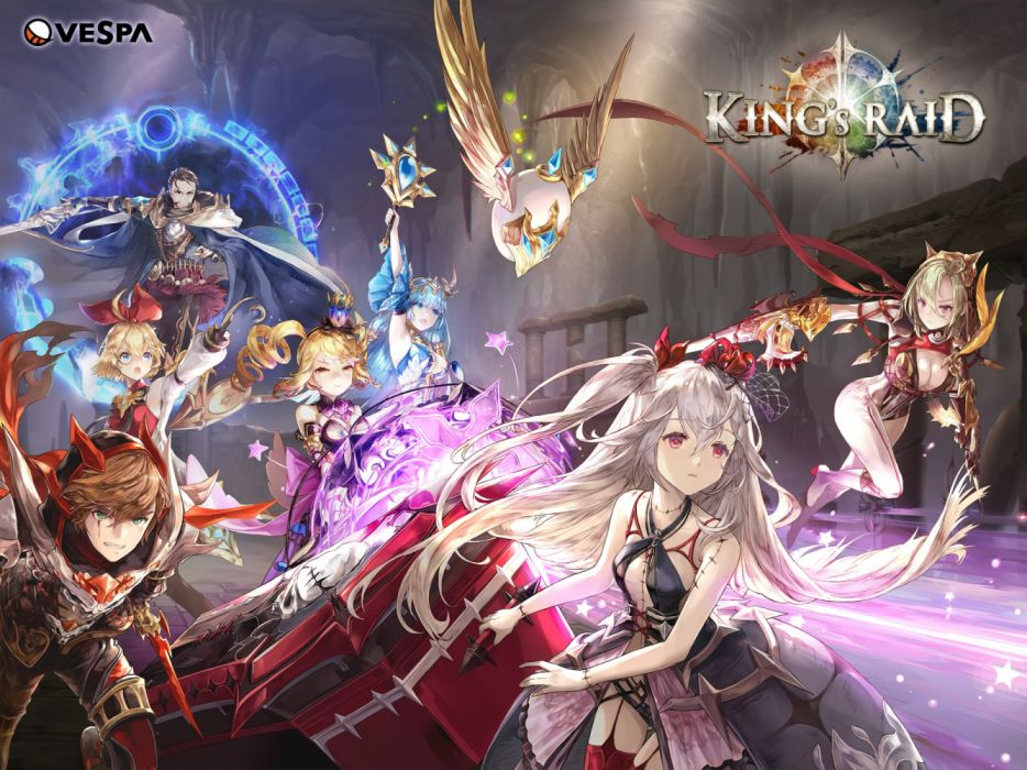 Konachan com - 256395 armor blue eyes blue hair bow breasts cape cleavage dress gloves group logo long hair magic male red eyes scarf sword thighhighs twintails weapon wallpaper