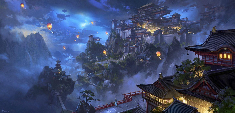 city mountains sky night nature figures fog fantasy wallpaper