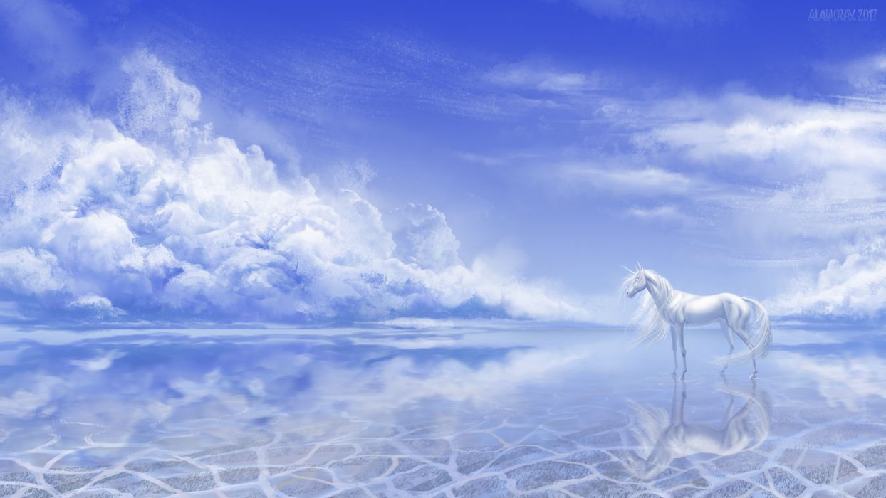 water horses sky nature figures fantasy wallpaper