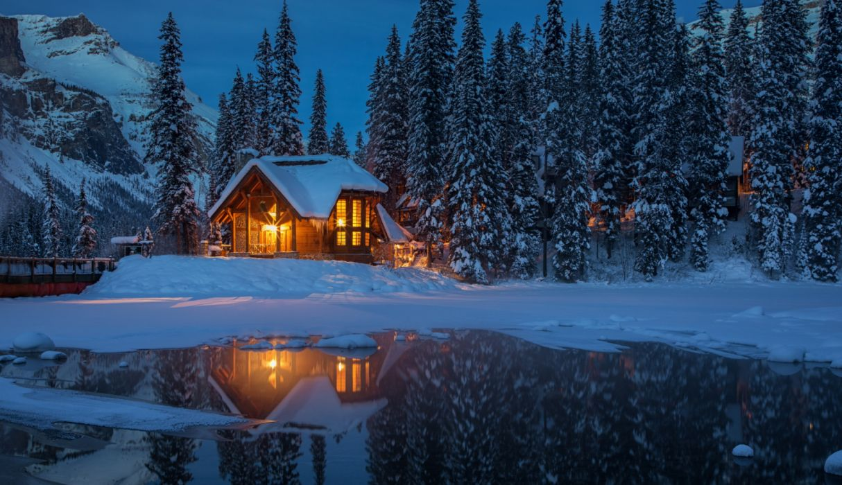 Canada Parks Houses Evening Lake Yoho National spruce with snow wallpaper