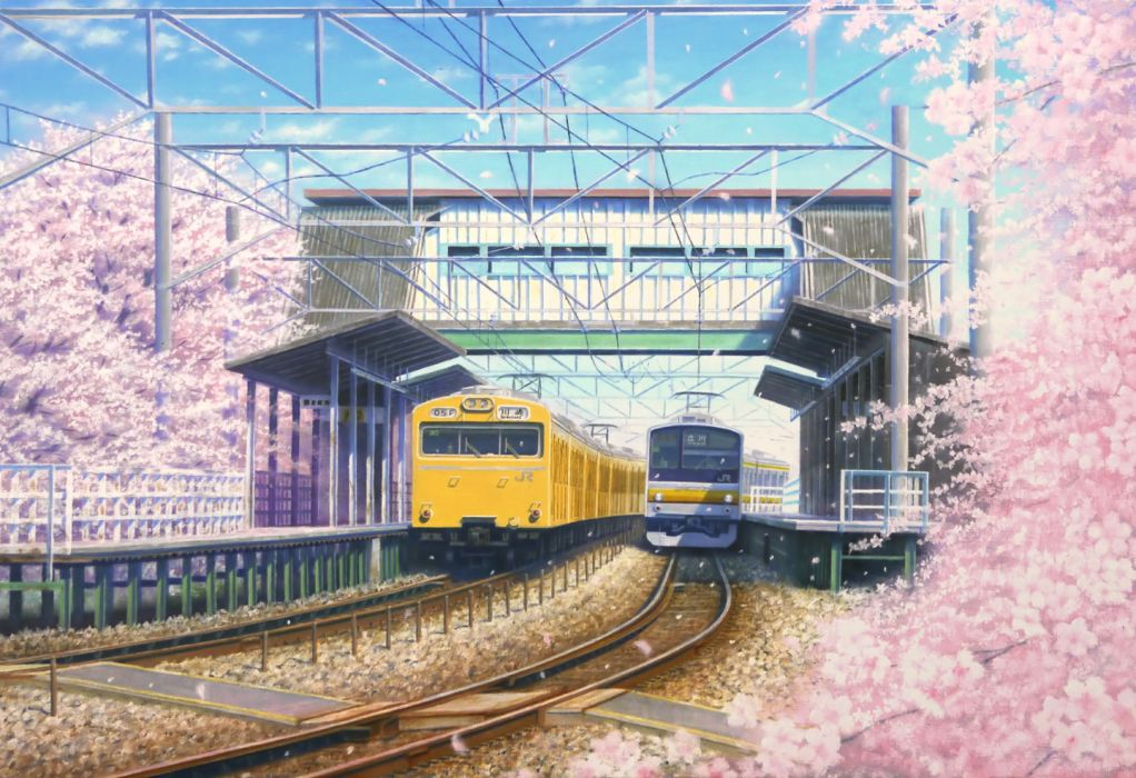 spring trees sky trains nature figures wallpaper