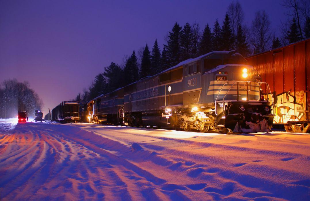 wallpaper forest railway night lights train trees composition winter snow locomotive wallpaper