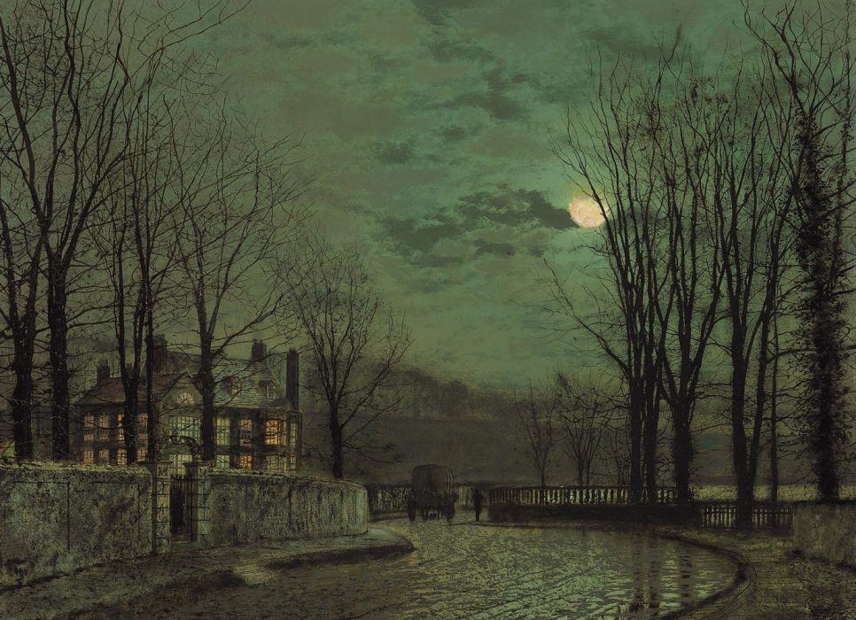Wallpapers Moonlight In November John Atkinson Grimshaw Cityscape
