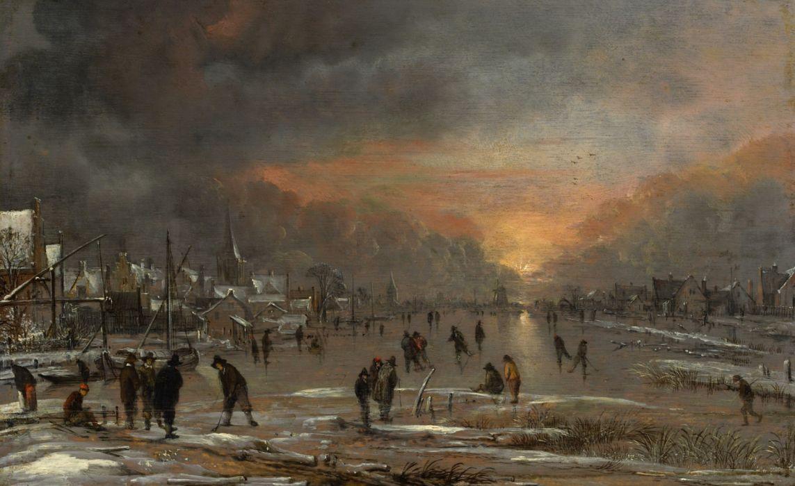 wallpaper landscape Riding on a Frozen River Art van der Neuer painting Aert van der Neer wallpaper