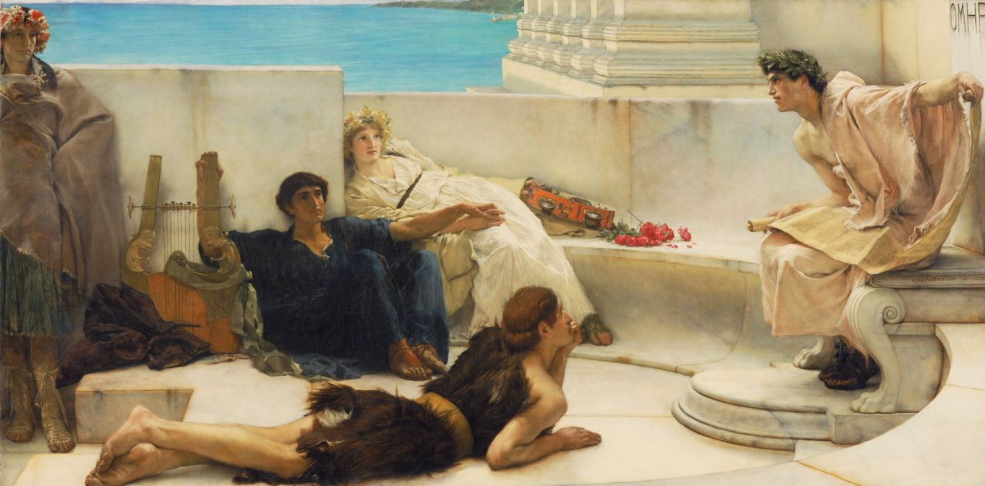 Wallpapers Laurence Alma-Tadema Lawrence Alma-Tadema Reading from Homer poet painting genre wallpaper