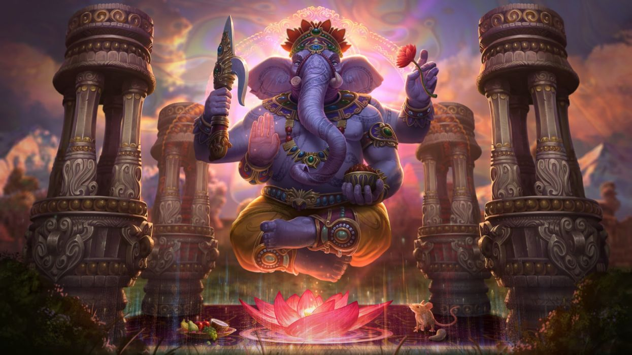 Elephant Ganesha (Smite) God Lotus Smite wallpaper