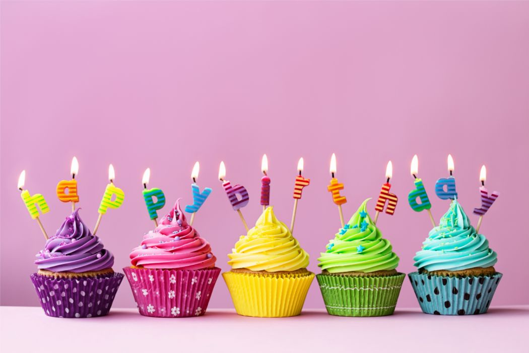 Birthday Candle Cream Cupcake Happy Sweets Wallpaper