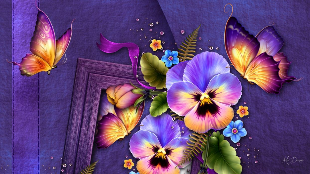 Artistic Butterfly Colorful Flower wallpaper
