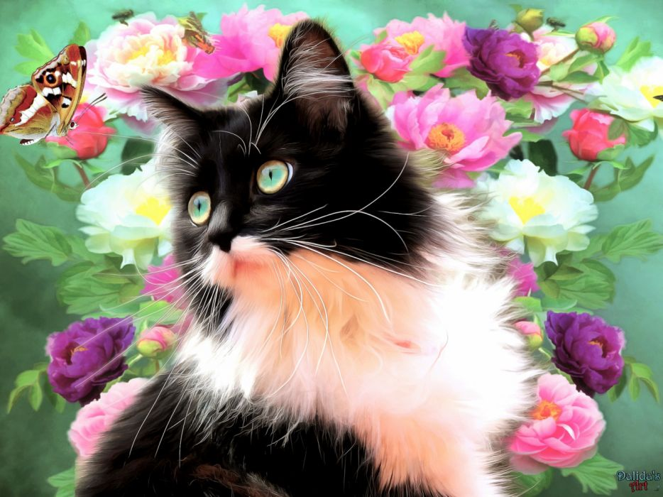 Artistic Butterfly Cat Flower Painting Spring wallpaper