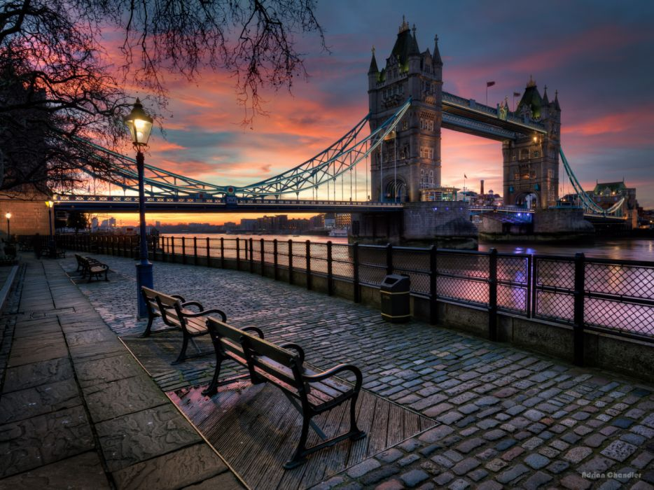 Bench England London Street Sunset Tower Bridge United Kingdom wallpaper