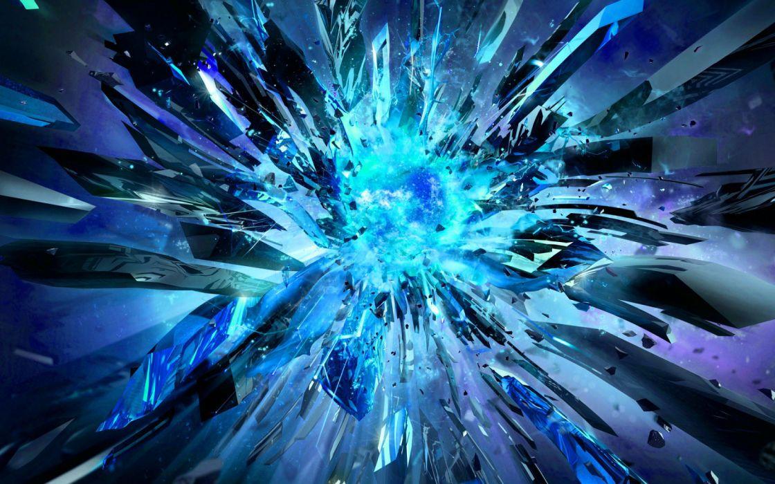 Abstract Artistic Blue Digital Digital Art Explosion Glass wallpaper