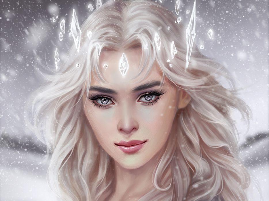 Woman White Hair Fantasy Art