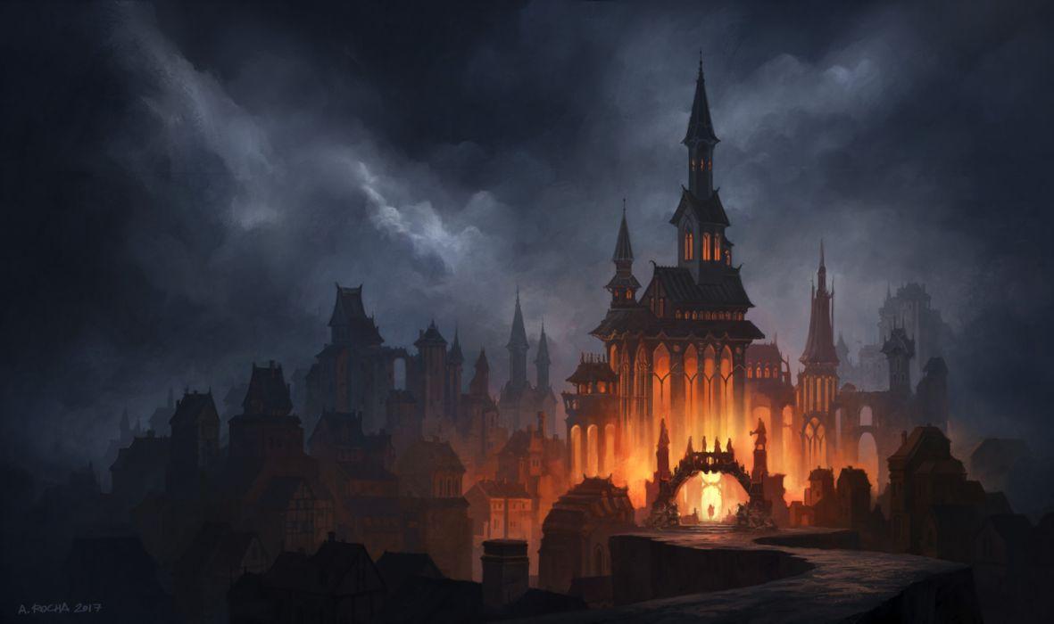 Artistic Castle Cloud Dark Fantasy Fire Gothic wallpaper