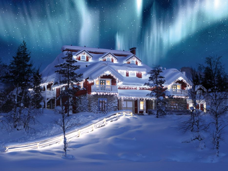 Aurora Borealis Christmas Holiday House Light Mansion Sky Starry Sky Stars Tree wallpaper