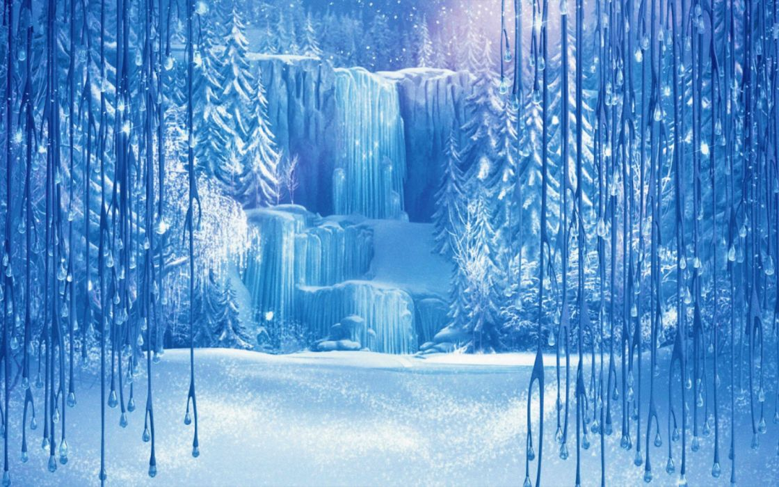Artistic Forest Snow Waterfall Winter wallpaper