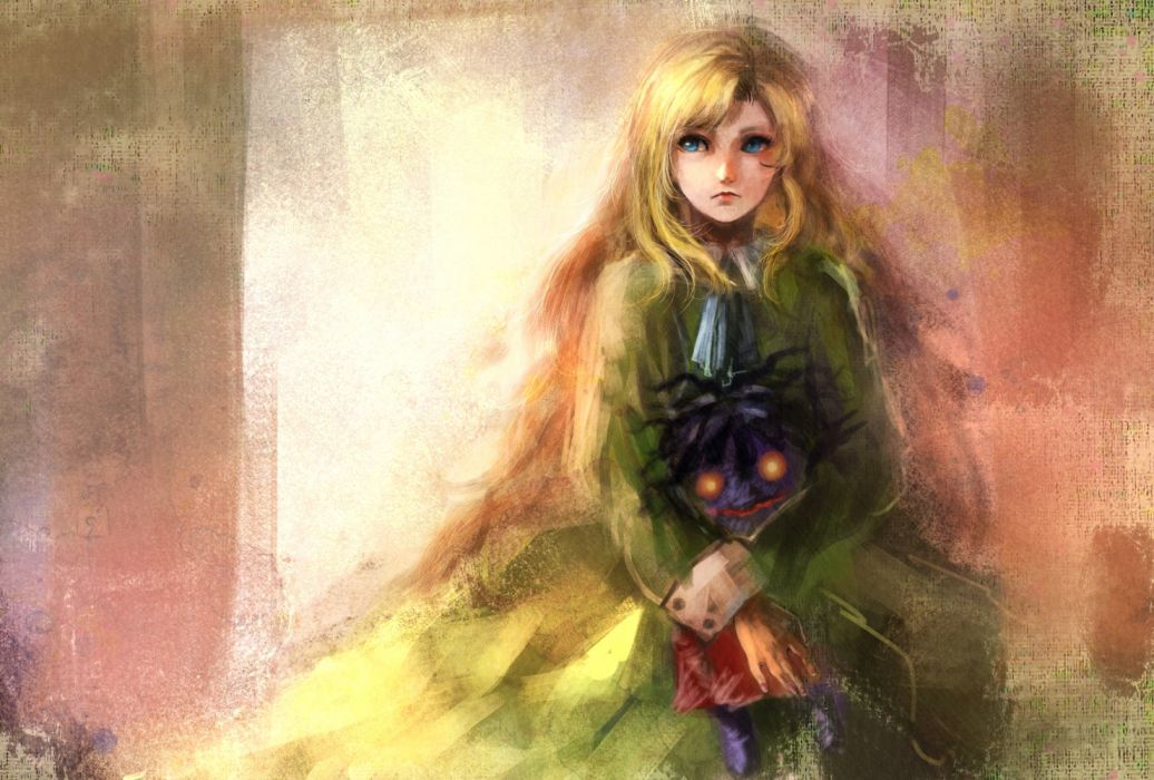 Artistic Blonde Blue Eyes Doll Girl Mary (Ib) Painting Scary wallpaper