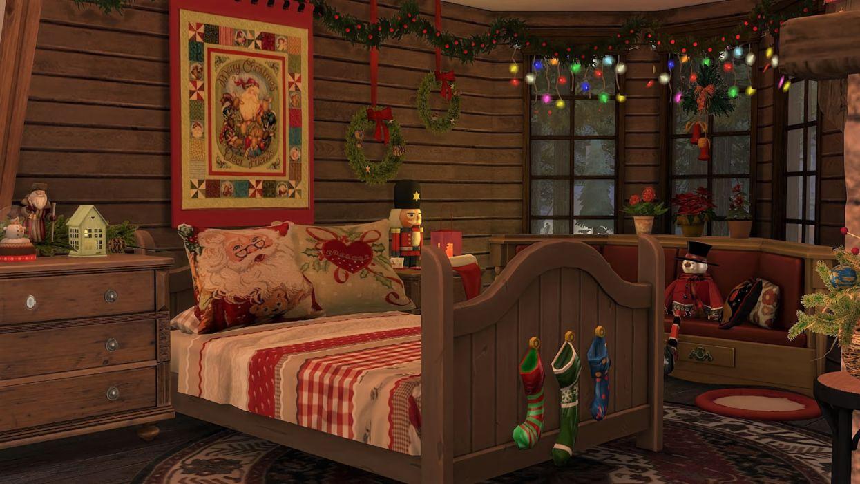 Artistic Bedroom Christmas Decoration Holiday Light Stocking Wreath wallpaper